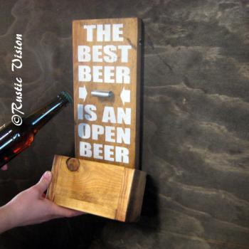 Wood Sign with Beer Bottle Opener with Easy to Empty Cap Catch